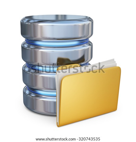 Database with folder 3D. Storage concept. 3D icon isolated on white background - stock photo