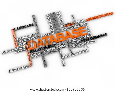 database word cloud over white background - stock photo