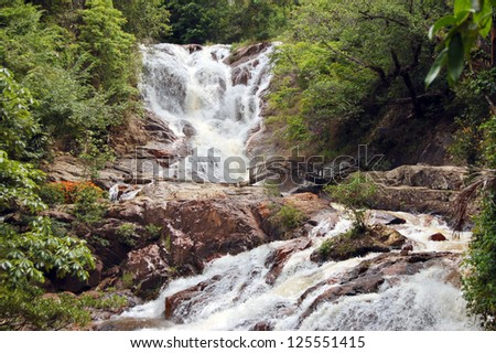 Datanla waterfall in the middle of a forest, Vietnam - stock photo