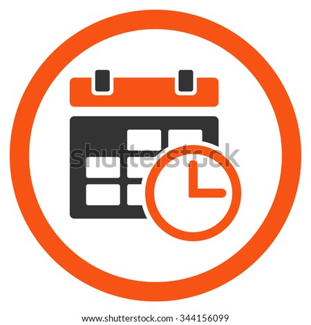 Date And Time glyph icon. Style is bicolor flat rounded symbol, orange and gray colors, rounded angles, white background. - stock photo
