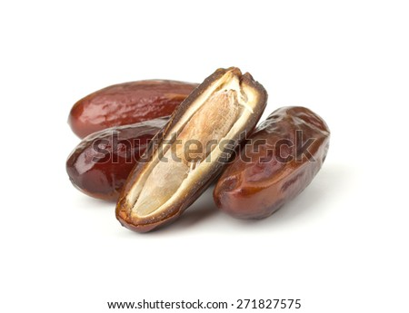 Date fruits isolated on white background - stock photo