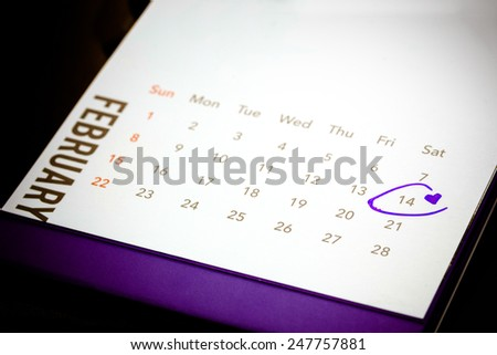 Date of February 14 on the calendar with Copyspace for your text - stock photo