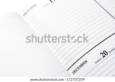 Date on lined page in diary