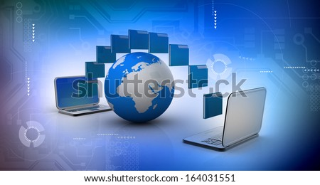 Date transferring concept on abstract tech background  - stock photo