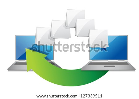 Date transferring illustration design over a white background - stock photo