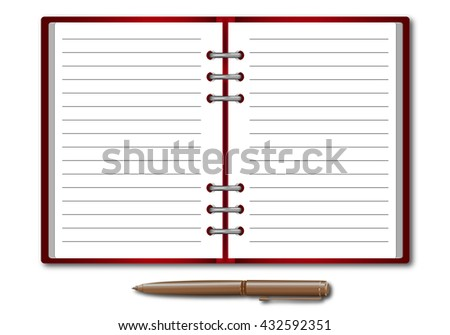 Datebook with a pen. sheet in the line. Rasterized versions