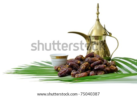 Dates Fruits with Arabic Coffee Pot - stock photo
