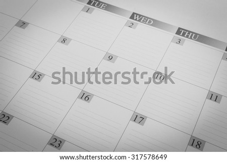 Dates on calendar page - stock photo