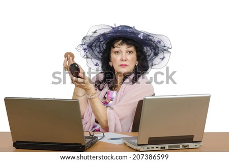 Dating agent powdering face before on-line conversation. Agent preening on white background
