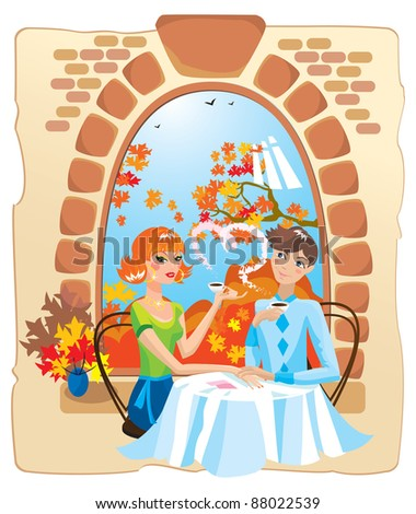 dating couple in the cafe. Raster version. - stock photo