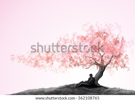 Dating couple under a love tree, painting style. - stock photo