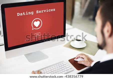 Dating Services Online Dating Application Concept - stock photo