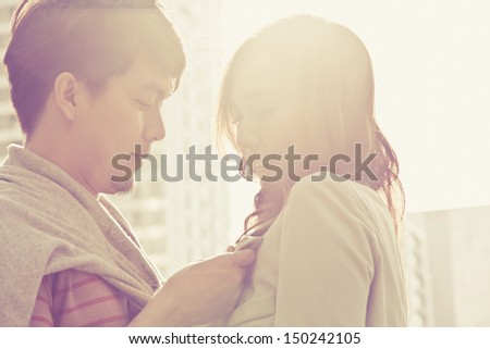 Dating young couple in love - stock photo