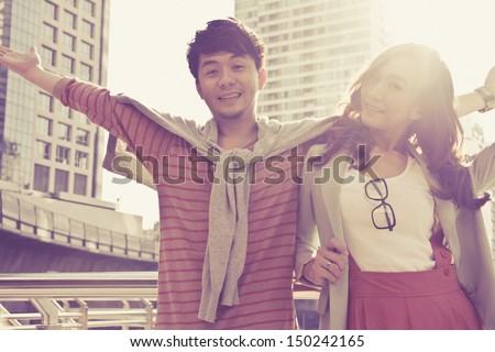 Dating young couple in love outdoor - stock photo