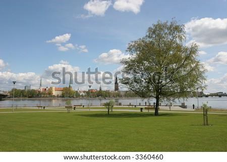 Daugava riverbank (Old city, Riga, Latvia) - stock photo