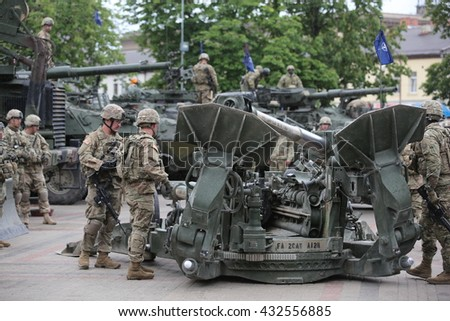 DAUGAVPILS, LATVIA - June 6, 2016. Military equipment and soldiers of 2nd Cavalry Regiment in Daugavpils. March Dragoon Ride II
