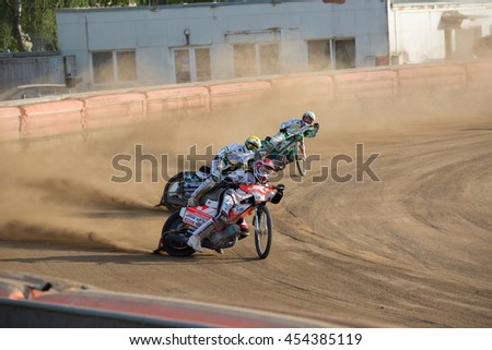 DAUGAVPILS, LATVIA - May 22, 2016: Speedway riders on the track in match of polish NICE league Lokomotiv - Wlokniarz Czestochowa 51:39