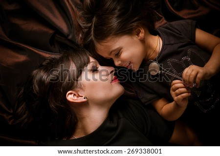 daughter and mom - stock photo