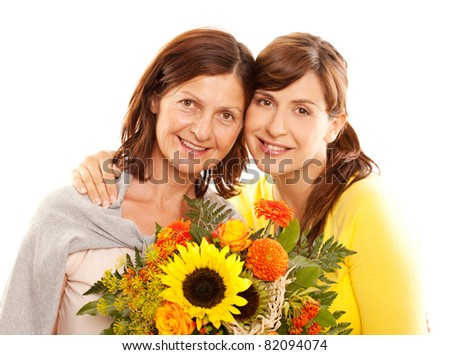daughter and mother - stock photo
