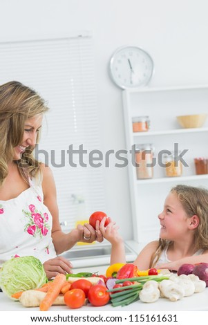 Daughter giving tomato to mother in the kithcen - stock photo