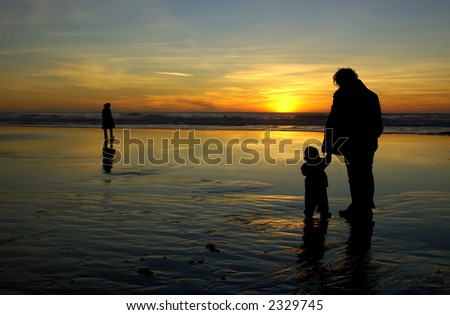 Daughter, holding her mother's hand, and a lonely stranger are watching sunset in San Francisco.