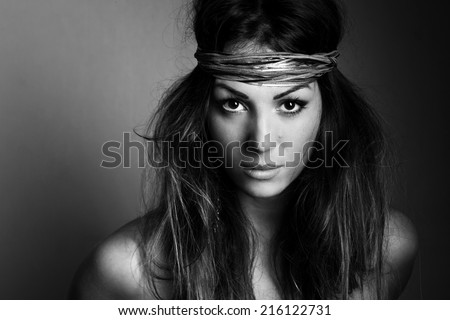 Daughter of chief of the tribe - stock photo