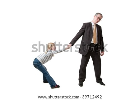 daughter pulls father for hand - stock photo