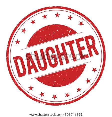 DAUGHTER stamp sign text word logo red.