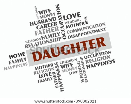 Daughter word cloud, Relations concept - stock photo