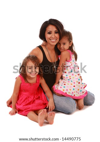 Daughters and mom on white background - stock photo