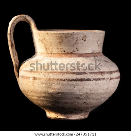 Daunian pot, Terracotta, Subgeometric style isolated over a black background - stock photo