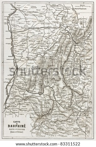 Dauphine old map, France - stock photo
