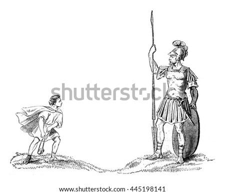 David and Goliath, vintage engraved illustration. Magasin Pittoresque 1852.