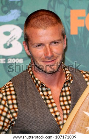David Beckham  in the press room at the 2008 Teen Choice Awards. Gibson Amphitheater, Universal City, CA. 08-03-08 - stock photo