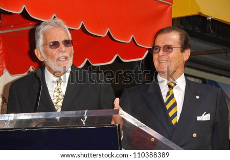 David Hedison and Roger Moore  at the ceremony honoring Roger Moore with the 2,350th Star on the Hollywood Walk of Fame. Hollywood Boulevard, Hollywood, CA. 10-11-07 - stock photo