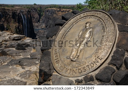 David Livingstone Memorial at The Mighty Victoria Falls in Livingstone, Zambia, Africa - stock photo