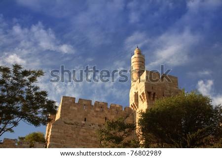 david's tower (david citadel) and old Jerusalem city wall. Copy space on sky - stock photo