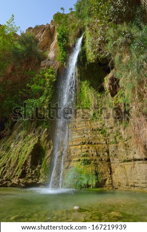 David's Waterfall. En Gedi Nature Reserve, Israel - stock photo