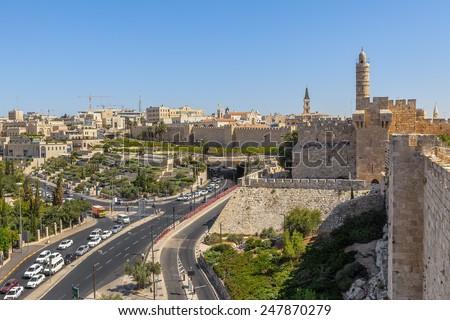 David Tower, Old City surrounding walls and urban view of Jerusalem, Israel. - stock photo