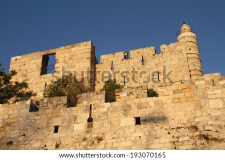 david tower wall jerusalem israel old city was the capital - stock photo