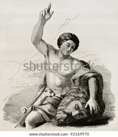 David with the head of Goliath. After painting by Carrache kept in Marseilles museum, published on Magasin Pittoresque, Paris, 1845 - stock photo