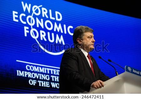 DAVOS, SWITZERLAND - Jan 21, 2015: President of Ukraine Petro Poroshenko speaks at the World Economic Forum in Davos (Switzerland) - stock photo