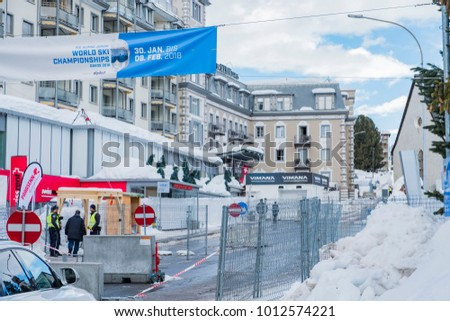 DAVOS, SWITZERLAND- JANUARY 26, 2018: World economic forum annual meeting. The photo shows the security entrance with truck barrier.