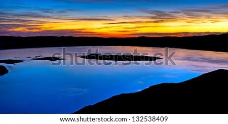 Dawn above Mono Lake, Eastern Sierra, California - stock photo