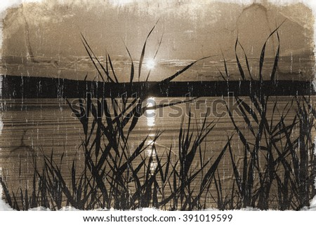 Dawn and a river (vintage style, with a grungy effect added) - stock photo