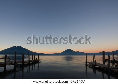Dawn at Lake Atitlan, Guatemala - stock photo