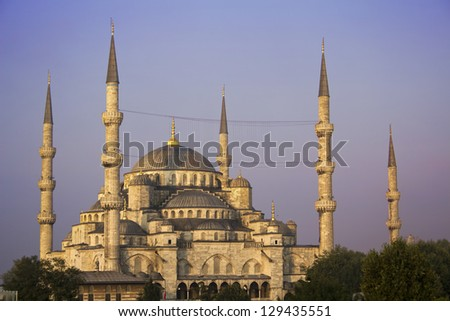 Dawn at Sultanahmet Mosque, Istanbul, Turkey - stock photo