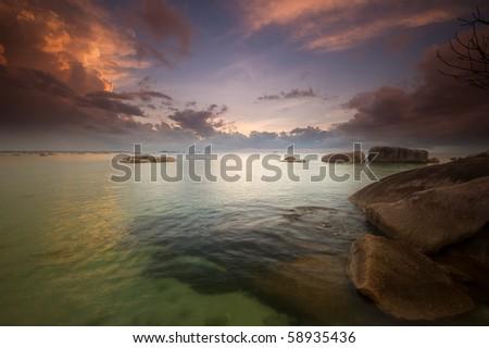 dawn at tanjung tinggi belitung indonesia - stock photo