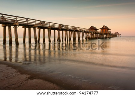 Dawn at the Naples Pier in Naples, Florida - stock photo