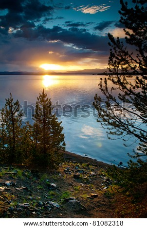 Dawn at Yellowstone Lake, Yellowstone National Park, Wyoming, US - stock photo